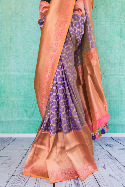 90c124 Stunning purple and pink traditional Indian saree available at our Indian fashion store in USA - Pure Elegance. The woven sari from Banaras is a classic Indian saree that you can always trust for special occasions and days!