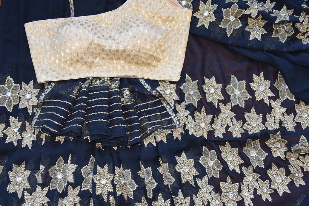 Black w/ jeweled flower pattern thread-work embroidered saree. Perfect party saree for Indian casual party. -close up