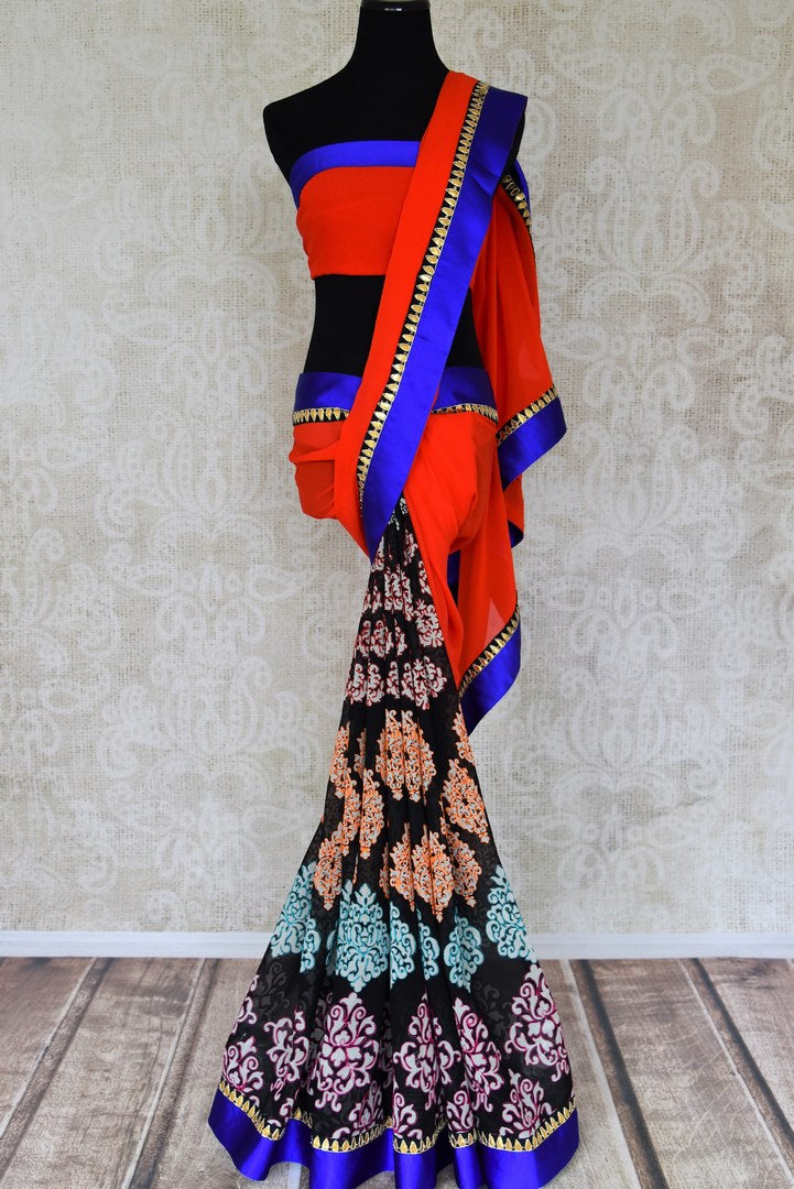 Shop red and black embroidered and printed georgette saree online in USA from Pure Elegance. Let your ethnic style be one of a kind with an exquisite variety of Indian designer sarees, pure silk sarees, Bollywood sarees from our exclusive fashion store in USA.-full view