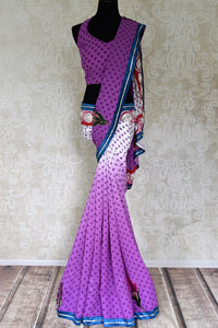 Buy purple and white polka dot georgette saree online in USA with embroidery. Shop the latest designer saris for weddings and special occasions from Pure Elegance Indian clothing store in USA.-full view