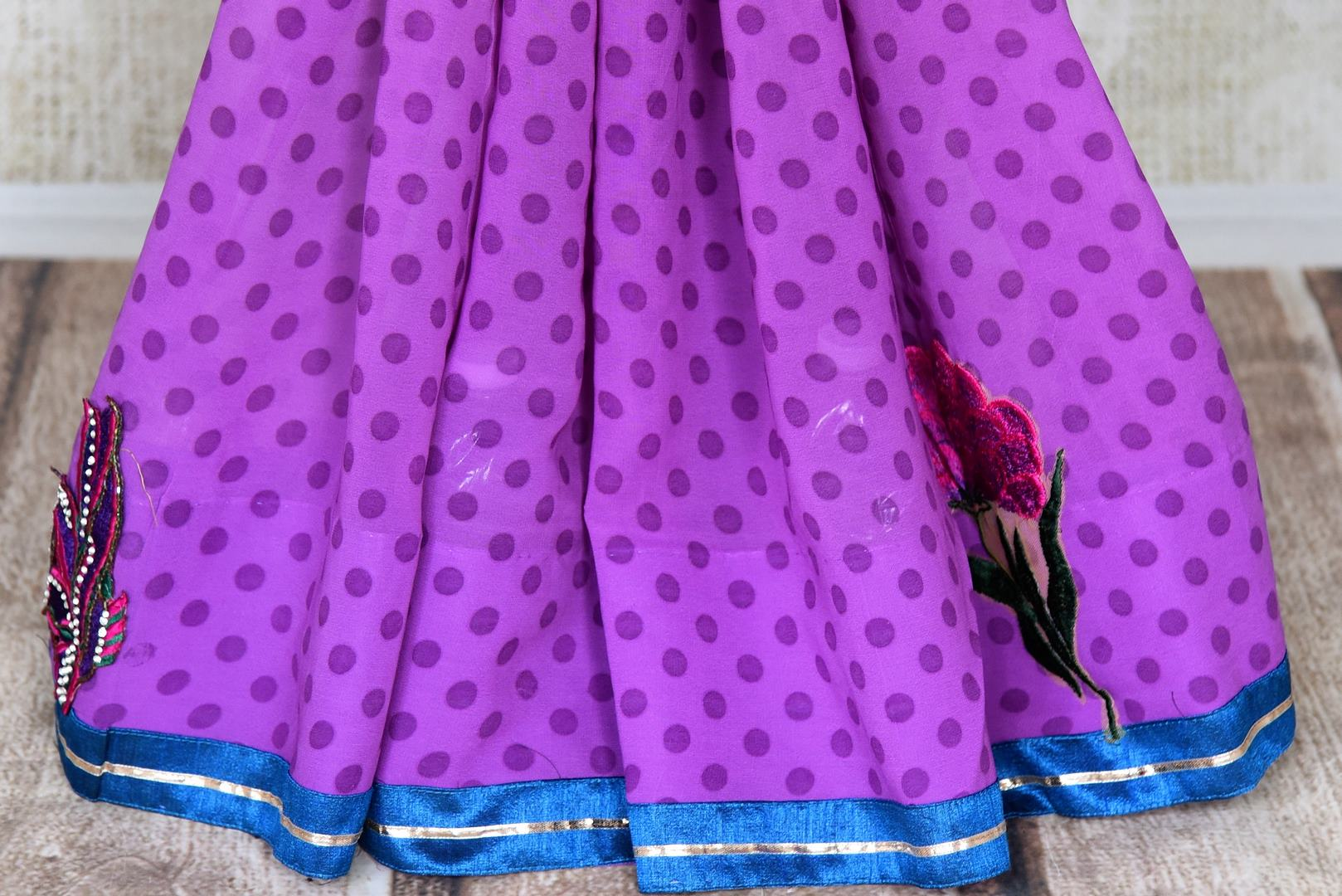 Buy purple and white polka dot georgette saree online in USA with embroidery. Shop the latest designer saris for weddings and special occasions from Pure Elegance Indian clothing store in USA.-pleats
