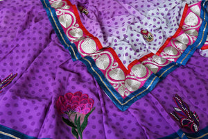 Buy purple and white polka dot georgette saree online in USA with embroidery. Shop the latest designer saris for weddings and special occasions from Pure Elegance Indian clothing store in USA.-details