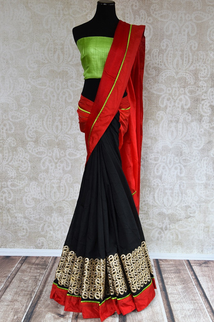 90c251 Bold linen kota saree that makes for an ideal party wear Indian outfit. Add this classic, red and black sari to your ethnic Indian clothing collection today! Versatile and easy to style, this saree is a must-have.