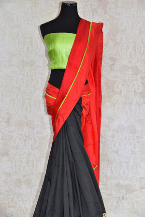 90c251 Bold linen kota saree that makes for a great party wear Indian outfit. Add this classic, red and black sari with a lime green blouse to your Indian wear wardrobe today! Versatile and easy to style, this saree is a must-have.