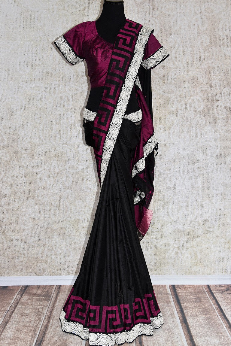 90C254 Black & pink Bangalore silk saree with a bold jewel trim. This traditional saree with elements of modern design is ideal for Indian wedding functions like sangeet and reception & parties. Buy it at our Indian clothing store online in USA.