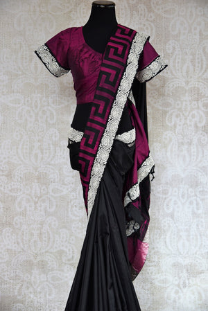 90C254 Black & pink Bangalore silk saree with a bold jewel trim. This traditional saree with elements of modern design is ideal for Indian wedding functions like sangeet and reception & parties. Buy it online in USA at our Indian wear store - Pure Elegance.