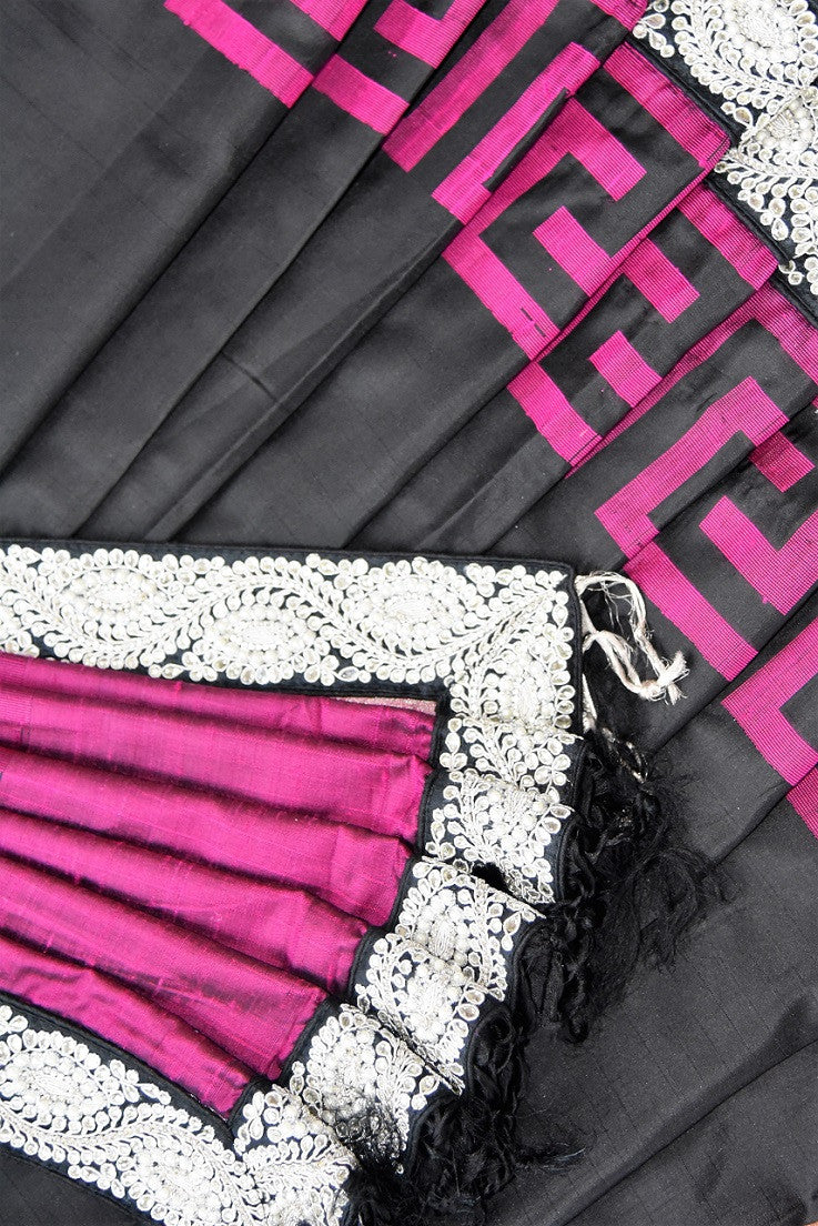 90C254 Black Bangalore silk saree with pink patterns and a bold jewel trim. This traditional saree with elements of contemporary design is ideal for Indian wedding functions like sangeet and reception & parties. Buy it at our Indian clothing store online in USA.