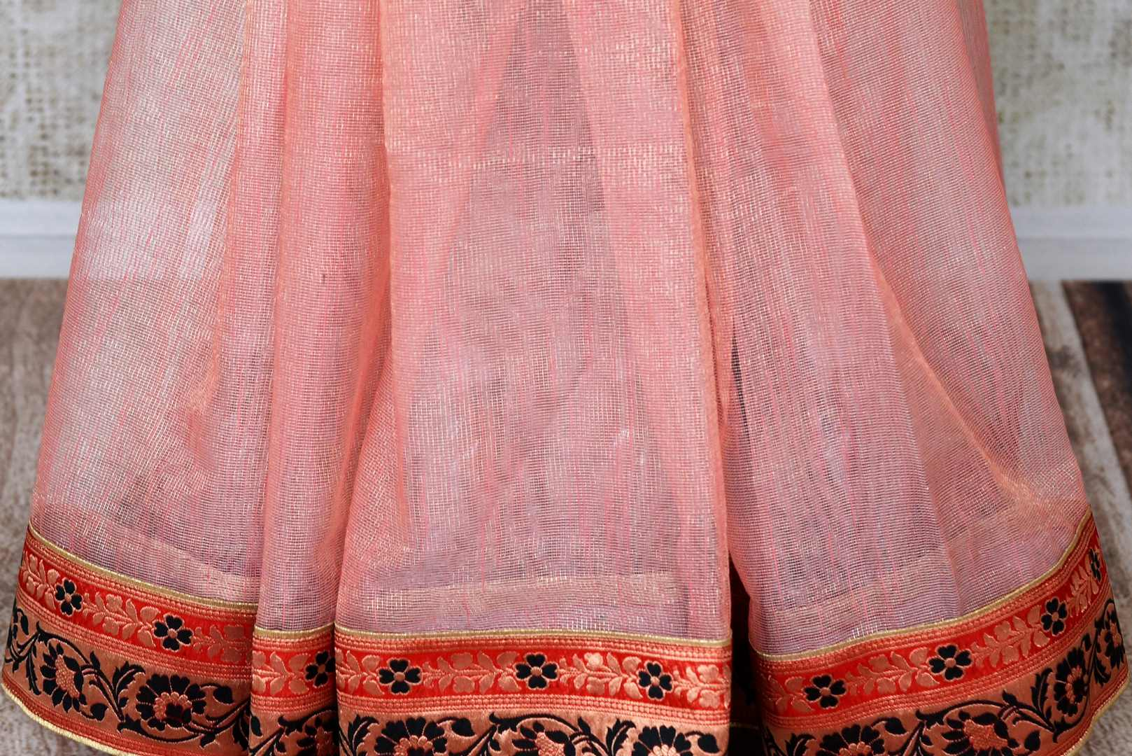 Shop pink jute sari online in USA with Banarasi border. Elevate your traditional style with exquisite Indian designer sarees from Pure Elegance Indian clothing store in USA. Explore a range of stunning silk sarees, embroidered sarees, wedding sarees especially from India for women in USA.-pleats