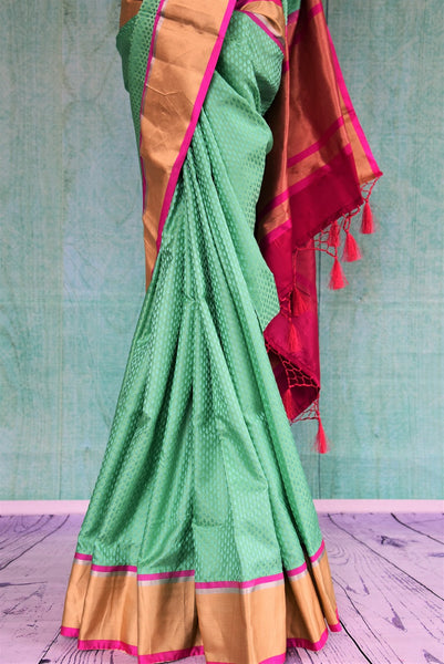 90C479 Sea Green Silk Benarasi Self Weave