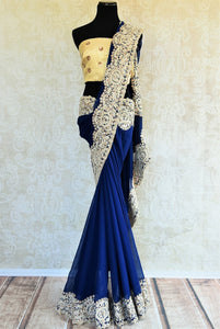 Glamorous Georgette with beige thread work Embroidery. Perfect party saree for wedding reception.-full view