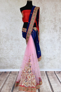 90C519 Lovely half net, half georgette saree with golden work. The pink & blue sari with traditional red blouse can be bought online at our ethnic wear store online in USA and is perfect for Indian weddings and functions.