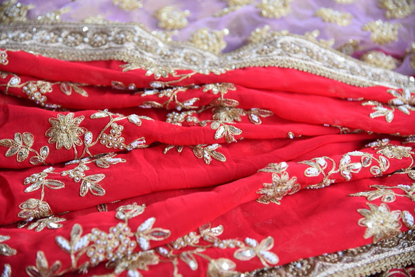 90c516 This red & pink embroidered saree is the ideal Indian wedding sari. The georgette and half net sari with golden embroidery work is a classic traditional Indian outfit that you can buy ethnic clothes online in USA.