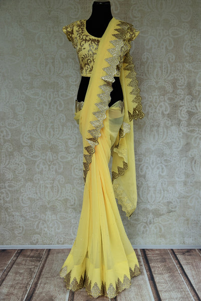 90C570 Lime Yellow Georgette Saree With Dull Gold Work