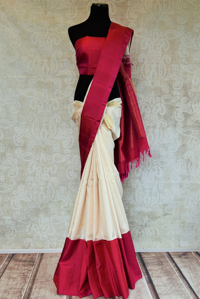 90C591 Simple White & Red Kanjivaram Saree