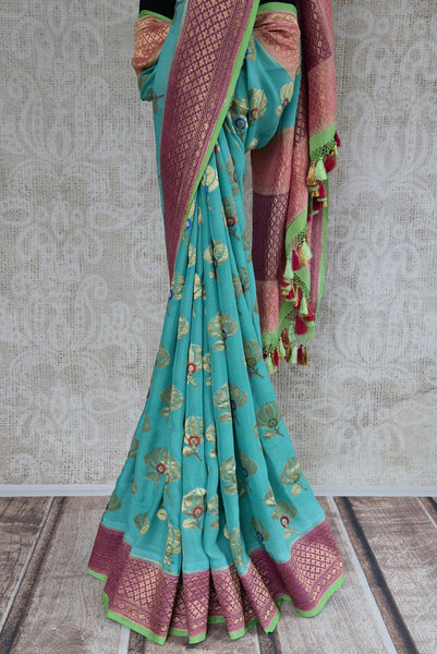 90C595 Blue Khaddi Benarasi Saree With Pink Border