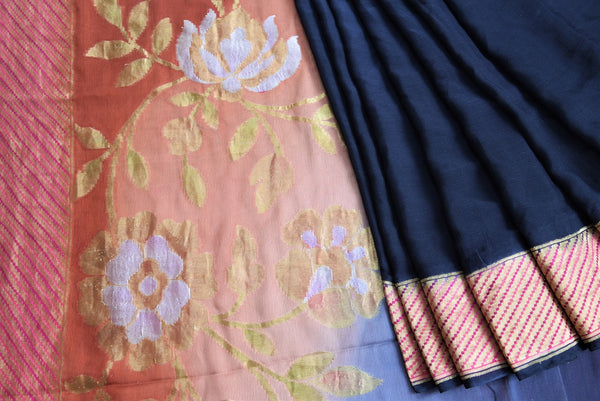 90C596 Midnight Blue Khaddi Benarasi With Red & Gold Border