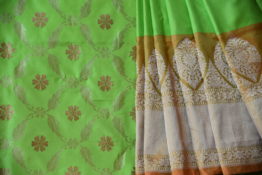 90C598 Green Benarasi Silk Saree With Mustard & Gold Border, Blouse & Pallu