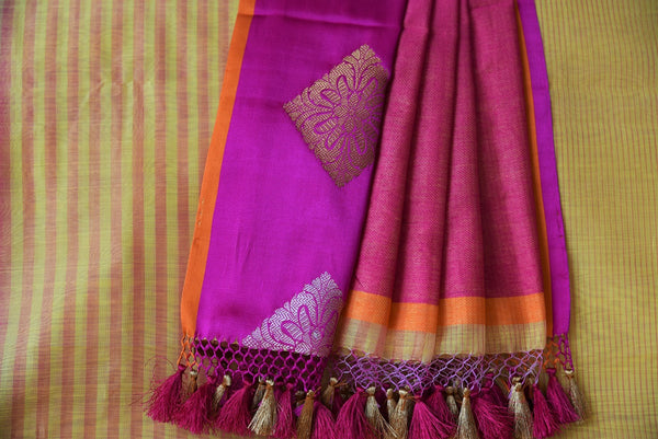 90C602 Yellow Linen Benarasi Saree With Pink Border