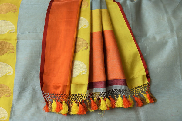 90C603 Powder Blue Linen Benarasi Saree With Orange & Yellow Border