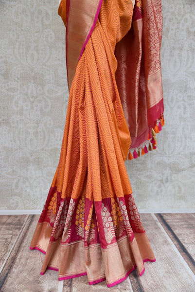 90C609 Orange Benarasi Saree With Resham Work