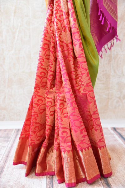 90C611 Multi Colored Kanjivaram Saree