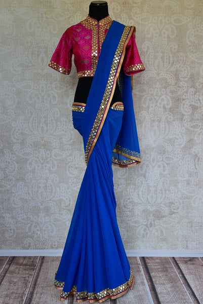 90C614 Blue Georgette Mirror Work Saree With Benarasi Blouse