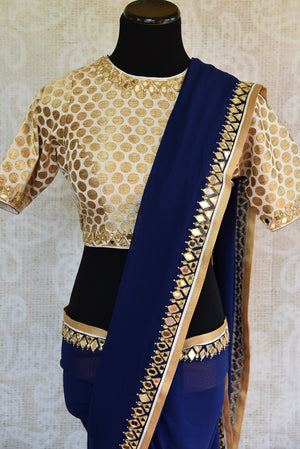 90C618 Blue Georgette Saree With Mirror Work With Benarasi Saree