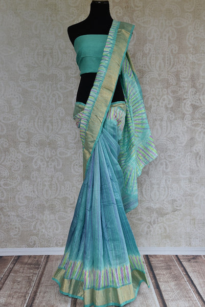 90C625 Blue Green Tie-Dye Matka Saree