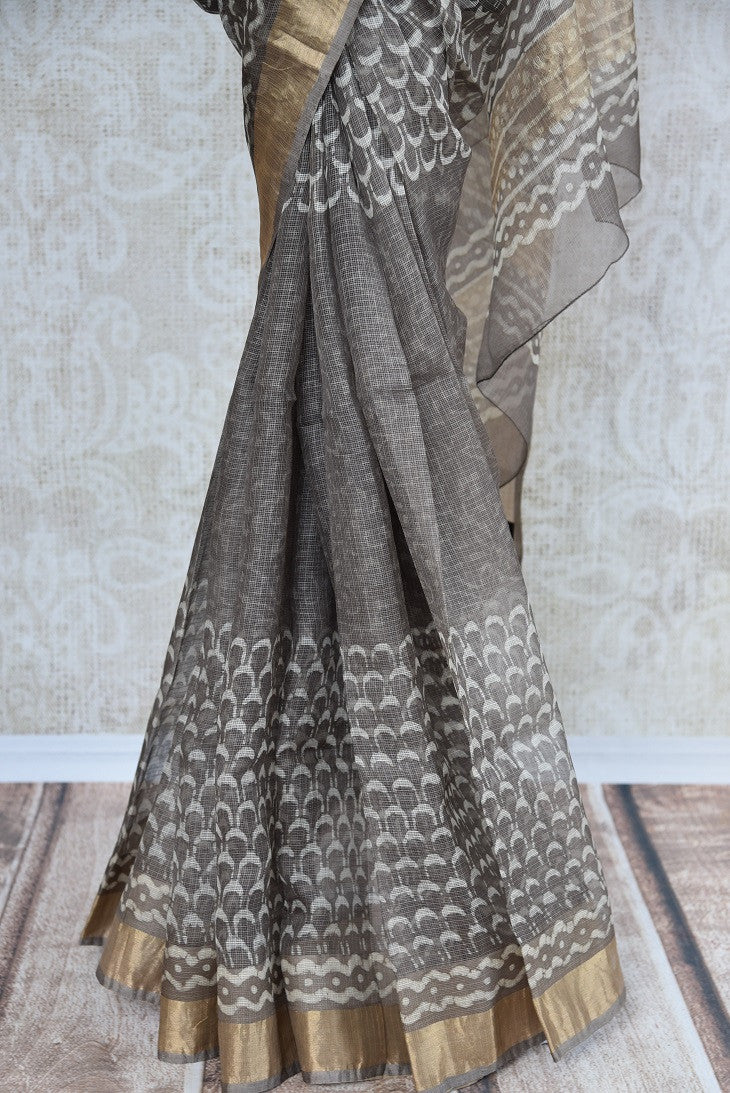 90C633 Printed Grey & White Zari Kota Saree