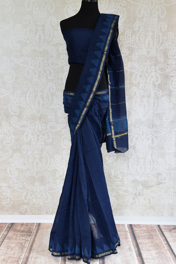90C634 Indigo Chanderi Saree With A Touch Of Gold
