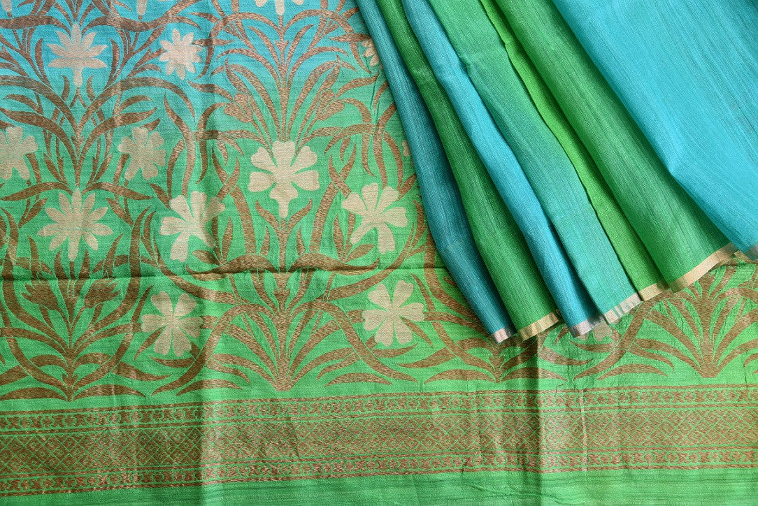 90C646 Blue Green Matka Benarasi Saree