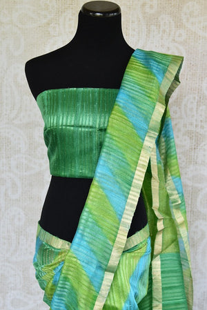 90C664 Green Matka Silk Saree With Hints Of Blue