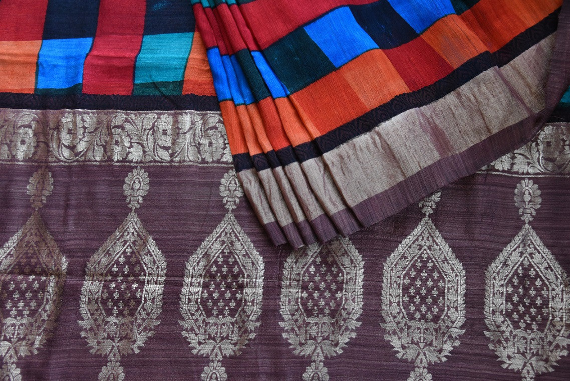 90C667 Brown & Multi Colored Matka Benarasi Saree