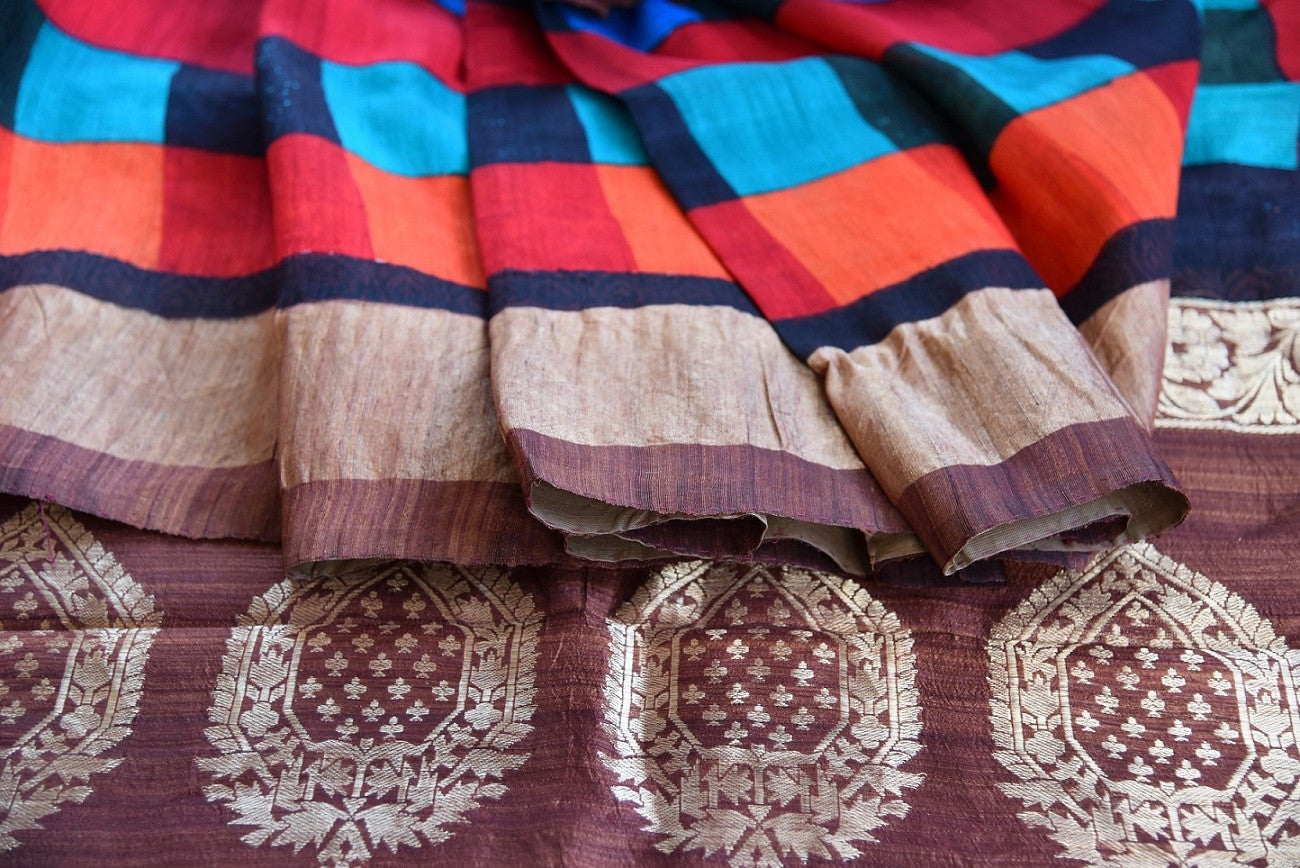 90C668 Brown & Multi Colored Matka Benarasi Saree