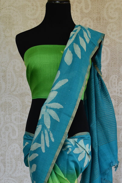 90C671 Hand Printed Blue & Green Chanderi Linen Saree