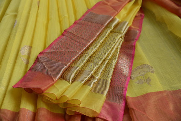90C675 Yellow Chanderi Silk Saree With Orange Border