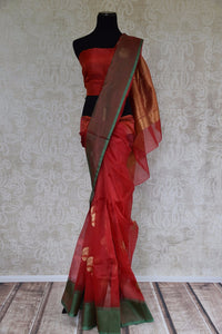 90C676 Classic Red Chanderi Silk Saree