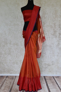 90C678 Red & Orange Chanderi Silk Saree