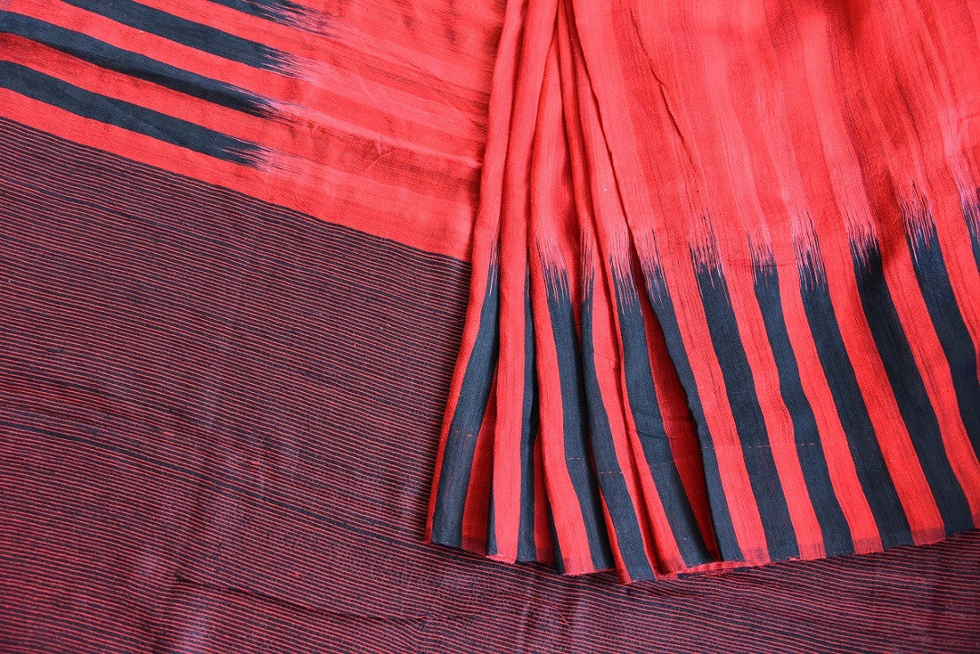 90C679 Red & Black Matka Silk Saree