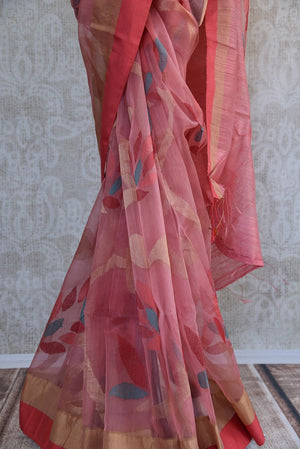 90C696 Pink & Orange Matka Organza Saree