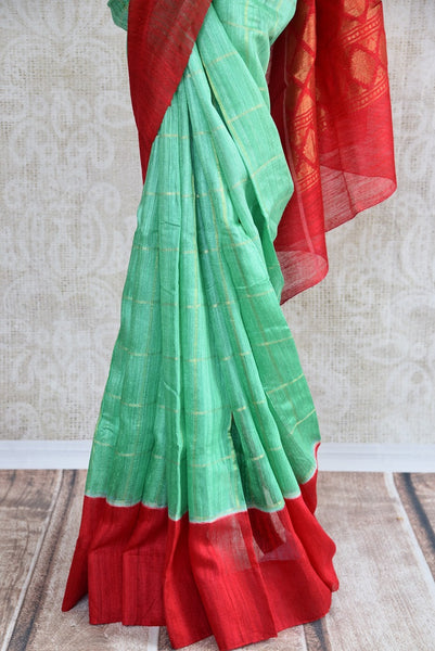 90C703 Mint Green & Red Matka Benarasi Saree