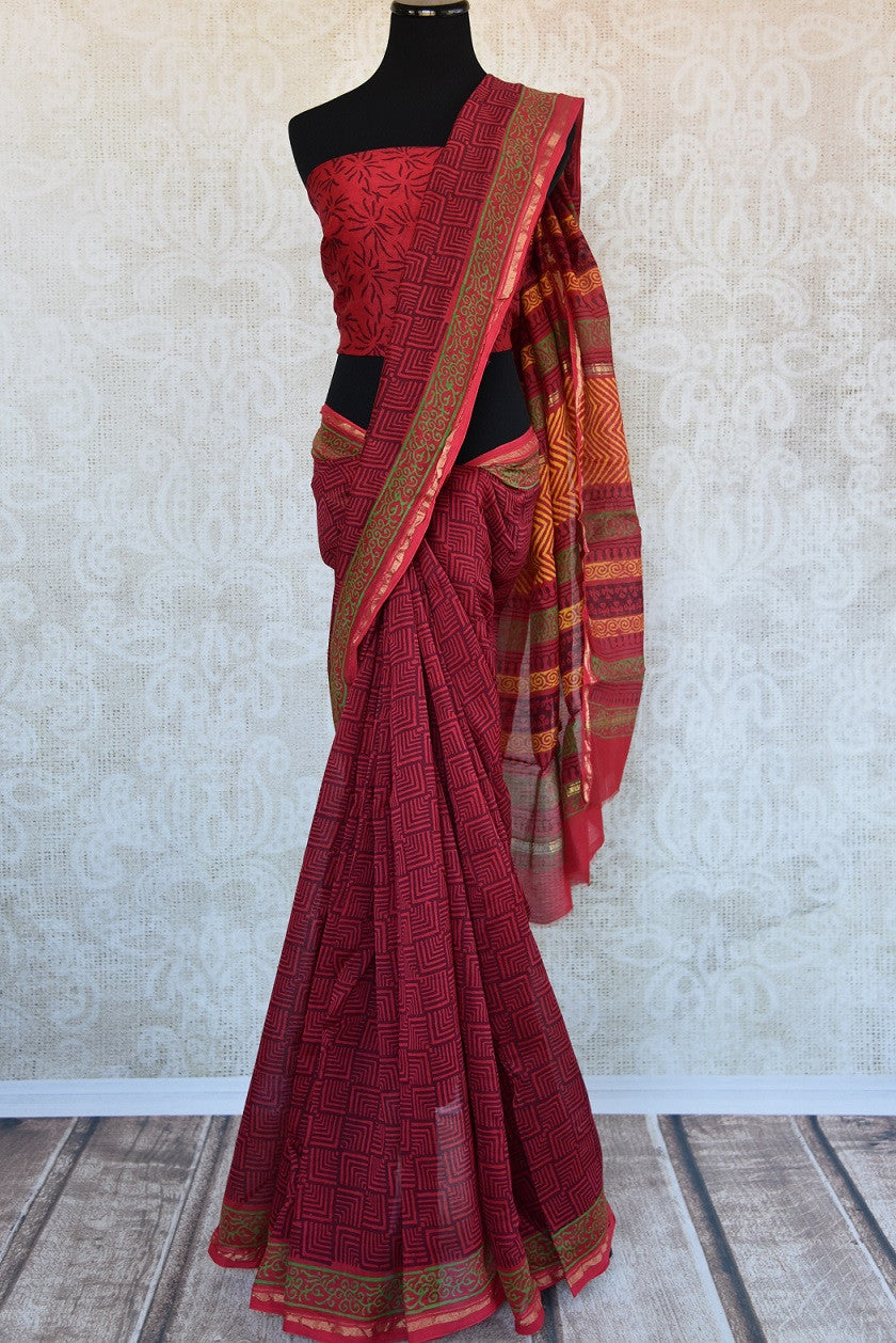 90c722 Traditional chanderi saree in a classic maroon color with pops of yellow & green. The printed saree, ideal for pujas and can be bought at our Indian clothing store online in USA - Pure Elegance.