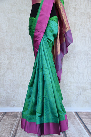 90C731 Green Kanjivaram Saree With Majenta Touches