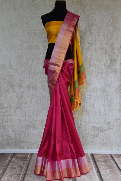 90C737 Majenta Kanjivaram Saree With A Pop of Yellow