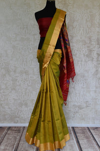90C738 Olive Green Kanjivaram Saree With Multi Colored Pallu