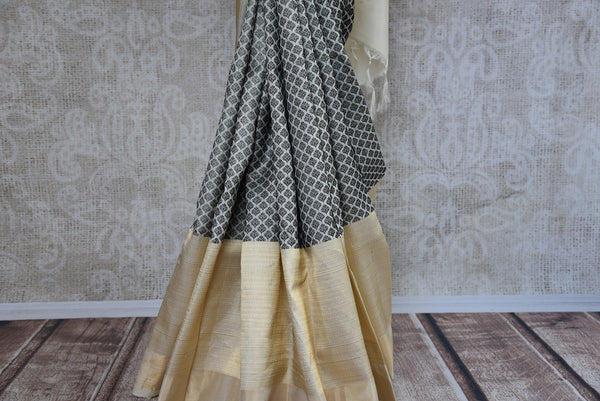 90C740 Off White & Black Kanjivaram Saree