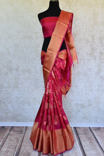 90C743 Traditional Majenta & Gold Kanjivaram Saree
