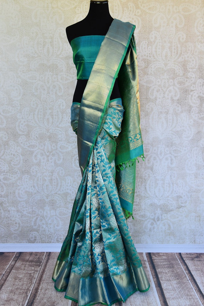90C754 Exquisite Blue-Green Kanjivaram Saree