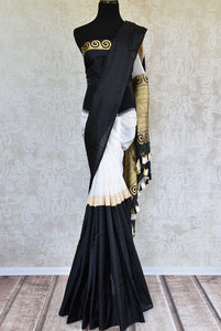 90C755 White Black & Gold Benarasi Saree
