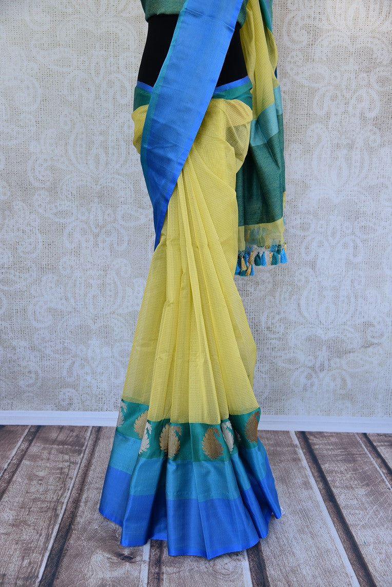90C765 Cream & Blue Benarasi Saree